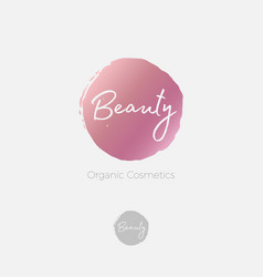beauty logo cosmetic emblem pink vector image