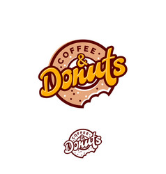 Bitten donuts and coffee bakery logo vector