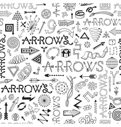 Black and white seamless pattern with arrows vector