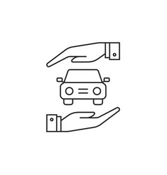 black thin line car insurance icon vector image