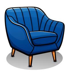Blue armchair cartoon isolated vector