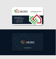 Business card with red and green logo of house vector