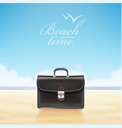 Business suitcase at sunny beach vector