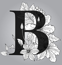Capital Letter B floral monogram with hand drawn vector
