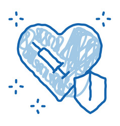 Cardiac repair injection doodle icon hand drawn vector
