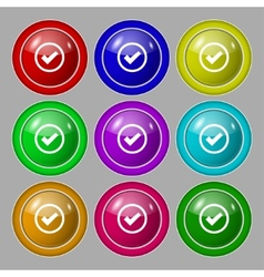 Check mark sign icon Confirm approved symbol Set vector image