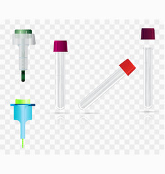 Child lancet adult lancet and vials on a vector