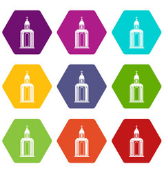 church icon set color hexahedron vector image