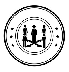 Circular border silhouette executive man with vector