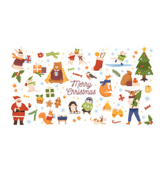 collection christmas symbols and characters vector image