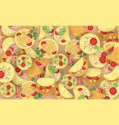 colorful omelets and ingredients background vector image