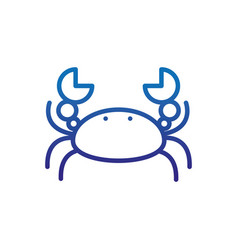 Crab crustacean animal marine life thick line blue vector
