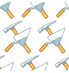 Crossing hammer and trowel pattern vector