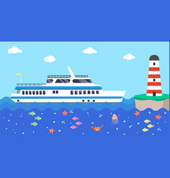 cruise boat in sea near lighthouse vector image
