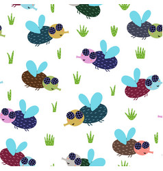 cute fly seamless pattern nature background with vector image