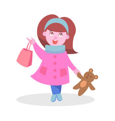 cute girl with bear toy and bag flat icon vector image