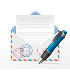 Detailed envelope and ink pen vector