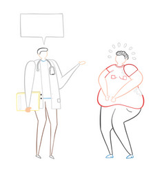 Dietitian talking with fat man hand-drawn vector