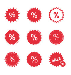 discount icons set sale tag with percent sign vector image