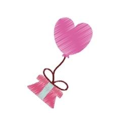 Drawing gift box balloon heart festive valentine vector