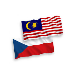 Flags czech republic and malaysia on a white vector
