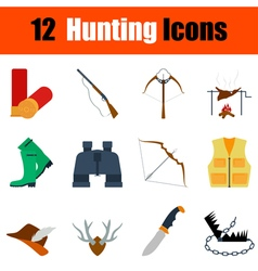 Flat design hunting icon set vector