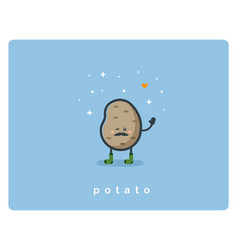 Flat potato icon food cartoon cute character vector