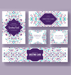 Geometric abstract brochure cards set vector