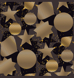 Gold and black christmas baubles seamless pattern vector