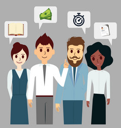 group of business people chat communication cloud vector image
