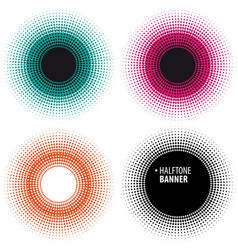 Halftone effect banner set abstract background vector