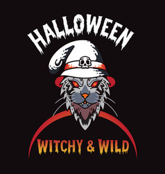 Halloween t-shirt design with witchy wild vector