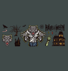 Halloween vintage elements composition vector