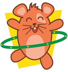 Hamster Playing Hula Hoops vector