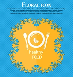 healthy food concept icon Floral flat design on a vector image
