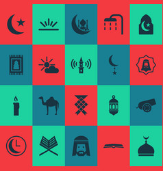 Holiday icons set with mosque prayer carpet body vector