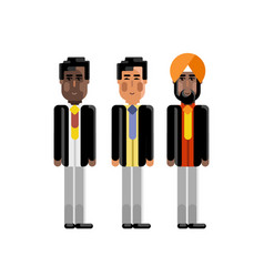 indian asian and african staff in business suits vector image