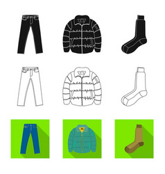 Isolated object of man and clothing sign set of vector