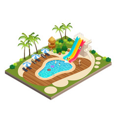 isometric view of swimming travel resort vector image
