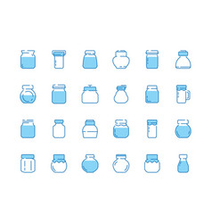 jar line icons bottles for sweets jam marmalade vector image