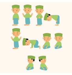 Kids pray praying shalat islam moslem boy move vector