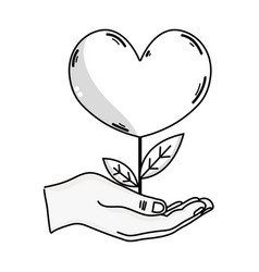 Line hand with beauty heart plant with leaves vector