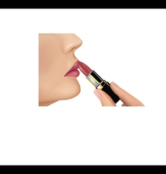 Lipstick makeup woman vector image