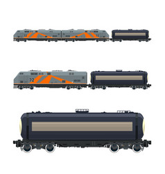 Locomotive with railway tank car vector
