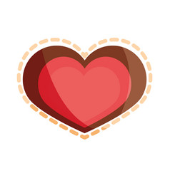 Love heart romatic dotted outline flat icon design vector