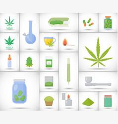 Marijuana or cannabis flat icon set vector