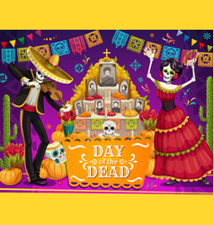 mexican day dead skeletons altar sugar skulls vector image