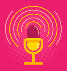 microphone on pink halftone background vector image