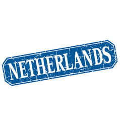 netherlands blue square grunge retro style sign vector image