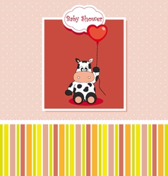 New baby shower card with cow vector